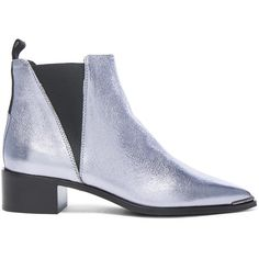 Acne Studios Leather Jensen Space Booties (32.435 RUB) ❤ liked on Polyvore featuring shoes, boots, ankle booties, booties, metallic booties, leather booties, mid heel booties, leather sole boots and real leather boots