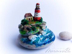 "Desk accessories Miniature sculpture ""Beacon"" boyfriend gift EUR) by MariannaArtStones Pebble Painting, Pebble Art, Stone Painting, Diy Painting, Good Presents For Boyfriends, Driftwood Sculpture, Rock And Pebbles, Art Desk, Driftwood Crafts"