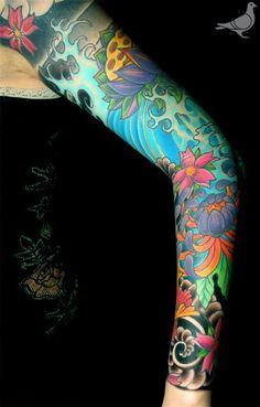 sleeve tattoo Japanese swirling blue ocean - Google Search