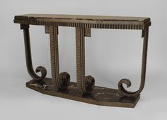 Art Deco French table console table wrought iron