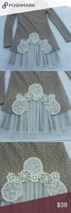 """Altar'd State tan dress size S Beautiful tan dress with white polkadots, embroidered design and tulle. Great condition!  Length 33"""" Sleeve 24"""" Shoulder to shoulder 13"""" Size S Altar'd State Dresses Mini"""