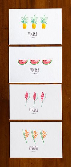 "Sometimes when we need a break from editing photos, we dabble in a bit of art n craft, and these hand painted ""vinaka"" (which is Fijian for ""thank you"") pieces are our latest concoction. These tropical Fiji Islands treats are perfect for destination wedding cards or tags and we can't wait to share them with you. Check out our Etsy store to download them! xxx The Kama's  https://www.etsy.com/listing/203830533/fiji-tropical-thank-you-card-pineapple?"