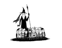 Expectant adventurers, ready for their journey to begin. The Gashlycrumb Hobbits.  Art by Missing Mistcaps.