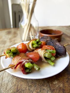 baked bacon wrapped asparagus kebabs with cherry tomatoes and shiitake ...