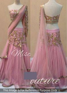 Net Zari Pink Reception wear Lehenga choli