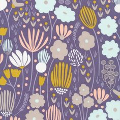 129612 Rich Meadow Navy Quilter's Cotton from Morning Song by Elizabeth Olwen for Cloud9 Fabrics