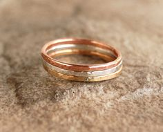 Mixed Metal Stacking Ring Set of Three by MiscellaneaEtcetera, $20.00