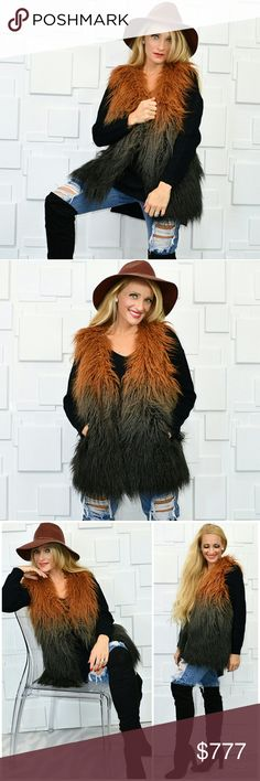 OMBRE FAUX FUR VEST Brand new Boutique item Price is firm  Stunning ombre faux fur vest. Look at those COLORS, they are perfect for your fall/ winter wardrobe. This vest will be a staple piece for sure. Pair with our ripped up jeans and black criss cross sweater for a complete and fabulous!! Fully lined-pockets-shaggy faux fur  Sweater and jeans available in out boutique!!   More pics on instagram : modamecouture Fall winter shaggy colorful popular fun coat jacket Jackets & Coats Vests