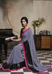 Buy grey and #black #colour #Georgette material #designer #saree #saari