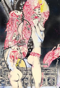 'Gustav Remix' by Jim Mahfood. Find out more about Jim and see more of his wonderful art at wowxwow.com (Food One, drawing, painting, comics, hip hop, illustration, pin-up, sketch, urban, spray paint)