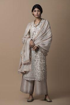 ivory lavender pastel silk organza kurta with dori and zardozi embroidery, a chanderi farshi with zardozi embroidery on the hem, and a chanderi odhani with zardozi embroidered motifs, a tissue border and a hand-embellished trim Indian Suits, Indian Attire, Indian Wear, Punjabi Suits, Ethnic Fashion, Colorful Fashion, Asian Fashion, Modern Fashion, Fashion Ideas