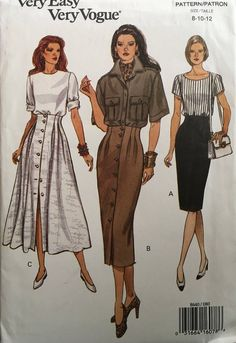 $€£$€£$€£$€---WORLDWIDE SHIPPING---$€£$€£$€£$€  Vogue 8640 Sewing Pattern Copyright - 1993  MEASUREMENTS & DETAILS: See photos below.  CONDITION: Pattern - Uncut, factory folded with all pieces Instructions - Included Envelope - Good condition  ✂ ✂ ✂ THIS IS A SEWING PATTERN, not a completed