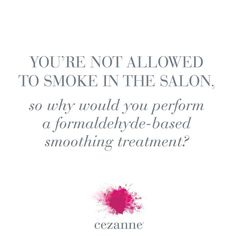 Cezanne's long-lasting and salon safe treatment brings hair to its ideal most beautiful condition without using dangerous chemicals. #formaldehydefree