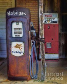 Vintage gas pump and coke machine