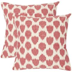 Lend a pop of pattern to your sofa or arm chair with this hand-woven cotton pillow, showcasing an ikat-inspired motif in red and ivory.