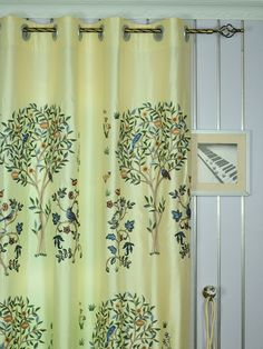 120 Inch Extra Wide Morgan Beige & Blue Embroidered Bird Tree Faux Silk Curtains | Cheery Curtains | Cheery Curtains: Ready Made and Custom Made Curtains For Less