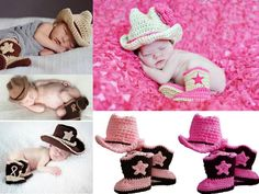 Baby Boy Girl Crochet Knitted Beanie Cowboy Cowgirl  Hat / Shoes Boots Slipper #Brandnew