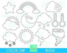 SALE weather digital stamps, weather digi stamps, commercial use, weather coloring page, raimbow Rainbow Paper, Rainbow Room, Sistema Solar, Easy Felt Crafts, Paper Crafts, Valentines Day Clipart, Cute Letters, Butterfly Template, Thought Bubbles