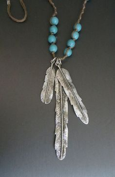 Cowgirl Bling Western Boho Turquoise 3 silver Feather Native Gypsy necklace #Unbranded #Pendant