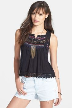 Free People 'Wonderland' Embroidered Cotton Top