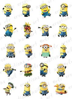 20 Nail Decals  DESPICABLE ME 2 MINIONS Characters Assortment Water Slide Nail Decals Nail Art