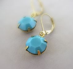 Turquoise Blue Earrings Vintage Swarovski by ZhivanaDesigns, $17.00