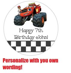 ~~Birthday Labels Blaze and the Monster Machines 24Count/ FREE SHIPPING!!!