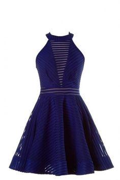 Royal Blue Sleeveless Summer Skater Dress With Cutout Back