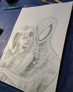 Spidey & MJ - markers and diluted ink on paper - Marco Failla