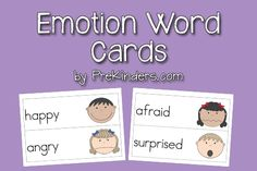 Free Emotion Word Cards from PreKinders (post includes link to Picture-Word Card Collection)