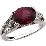 14K White Gold 1/5 CTW Genuine Rhodolite Garnet & Diamond Ring