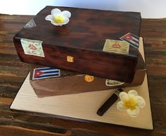 Stacked Cuban cigar box birthday cake.