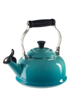 This classic tea kettle in a gorgeous blue would match the kitchen perfectly with it's colorful and iconic style.
