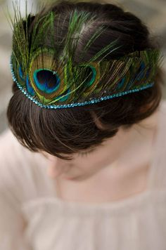 peacock feather tiara with crystal edge by holly young headwear | notonthehighstreet.com