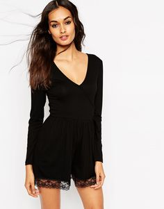 ASOS+Ballet+Wrap+Playsuit+with+Lace+Hem