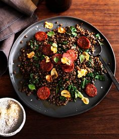 Served as a side, this green lentil salad is filled with flavour. Thinly slice the salami to create an even taste.
