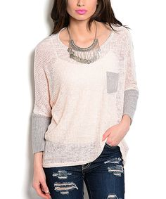 Another great find on #zulily! Pink & Gray Dolman Sweater by Buy in America #zulilyfinds