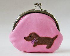 Handmade coin purse dachshund on pink ♥ by oktak on Etsy Baby Dachshund, Daschund, Weenie Dogs, Doggies, Change Purse, Little Dogs, Bag Making, Making Ideas, Animal Pictures