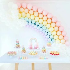 this rainbow party dessert table with its amazing rainbow balloon arch. image by LOVE LOVE! this rainbow party dessert table with its amazing rainbow balloon arch. image by Rainbow First Birthday, Girl First Birthday, Unicorn Birthday Parties, First Birthday Parties, Birthday Party Decorations, First Birthdays, Rainbow Baby, 1st Birthday Girl Party Ideas, Pastel Party Decorations