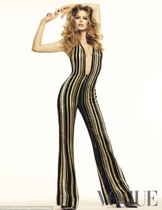 Vintage vibe: In a 70s-inspired shot, Doutzenwore her hair teased into dramatically bouff...