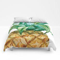 Pineapple Tropical Hawaii Summer Fruit Comforters