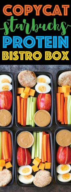 Here's an easy, healthy, portable meal idea: Copycat Starbucks Protein Bistro Boxed lunch. Great idea for travel & road trips.even the first meal at the airport. Protein Snacks, Protein Box, High Protein Recipes, Protein Breakfast, Snacks Road Trip, Road Trips, Road Trip Meals, Healthy Drinks, Healthy Snacks