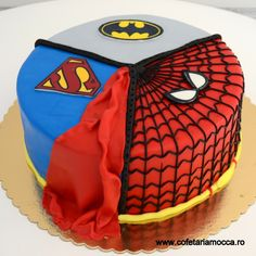 Hero cake: Superman, Batman and Spiderman made of sugar paste. The perfect birthday cake for every boy! Paw Patrol Birthday Cake, Boy Birthday, Birthday Cakes, Spiderman Batman Superman, Miraculous Ladybug Party, Barrel Cake, Sugar Paste, Mocca, Cake Decorating