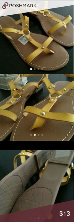 Sandals Montego bay Strappy sandals Flats Tan bottom Mustard Yellow w/ Silver stud accents New w/ sticker tags montego bay Shoes Sandals