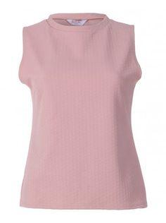 Womens Pink Sleeveless Jaquard Turtle Neck Fashion Top