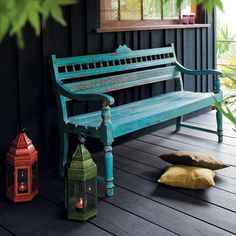 furniture love this.would like to replace our current bench.but also need a covered porch too!would like to replace our current bench.but also need a covered porch too! Garden Furniture, Outdoor Furniture, Outdoor Decor, Banco Exterior, Painted Benches, Style Deco, Lanterns Decor, Decorative Lanterns, Garden In The Woods