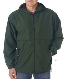 8908 Ultraclub Adult Microfiber Hooded Zip Front Jacket Forest Green