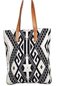 Eco Friendly Tulum Southwestern Aztec Tapestry Vegan Tote Bag (Black / White, Vegan Leather Straps): Handbags: Amazon.com