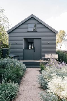Black House Exterior, Exterior House Colors, Exterior Paint, Danish House, Swedish House, Tiny House Layout, House Layouts, Australian Sheds, Black Shed