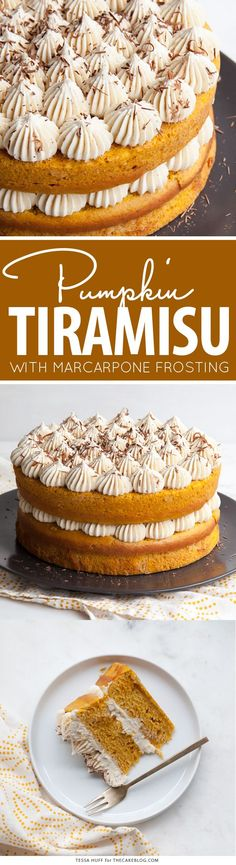 Pumpkin Tiramisu Cake - pumpkin spice cake soaked with coffee-liqueur, fluffy mascarpone frosting and chocolate shavings | Tessa Huff for TheCakeBlog.com